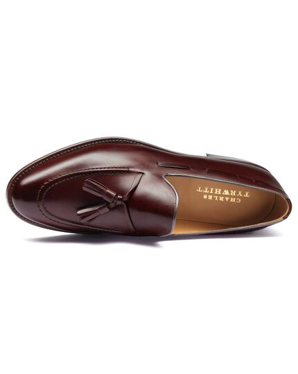 Burgundy Keybridge tassel loafers