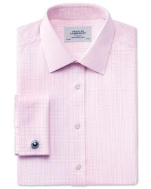 Classic fit non-iron Windsor check pink shirt