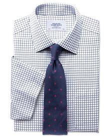 Slim fit non-iron short sleeve indigo shirt