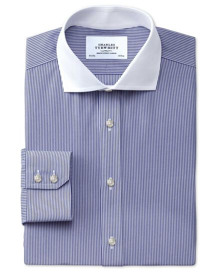 Extra slim fit spread collar non-iron Winchester bengal stripe navy shirt
