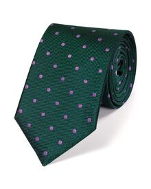 Green and purple silk classic spot tie