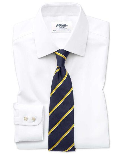 Bügelfreies Slim Fit Hemd in Weiß mit mit gewebten Quadraten
