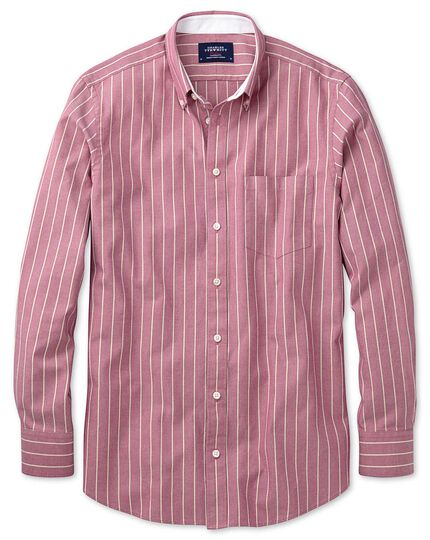Classic fit magenta stripe washed Oxford shirt
