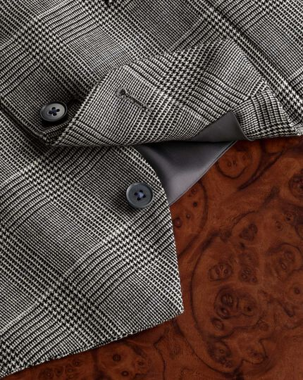 Grey check twill business suit waistcoat