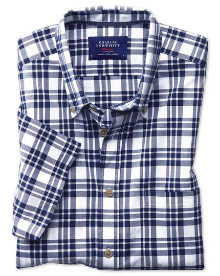Classic fit button-down poplin short sleeve navy blue check shirt