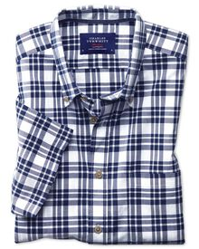 Slim fit button-down poplin short sleeve navy blue check shirt