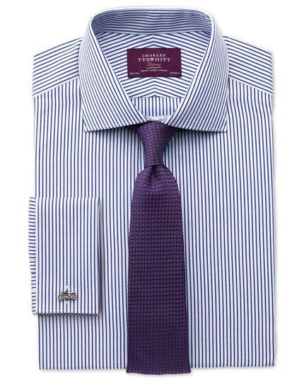 Extra slim fit semi-spread collar luxury poplin stripe blue shirt