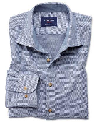 Slim fit washed textured denim blue shirt