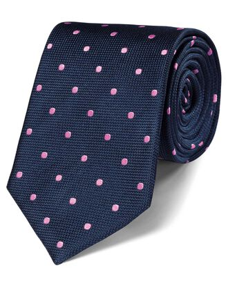 Navy and pink silk spot classic tie
