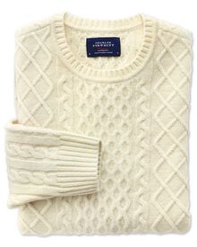 Lammwolle Zopfmuster Pullover in Cremefarben