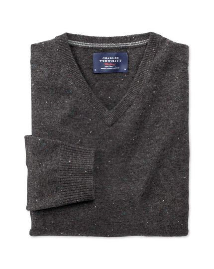 Charcoal Donegal v-neck jumper