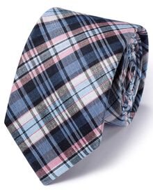 Blue and pink silk mix classic check tie