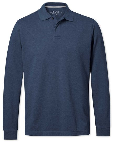 Indigo pique long sleeve polo