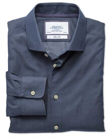 Classic fit semi-cutaway collar business casual denim blue shirt