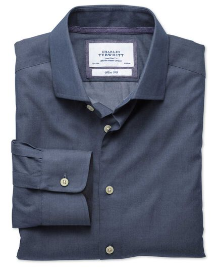 Classic fit semi-spread collar business casual denim blue shirt