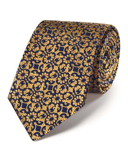 Gold silk luxury floral tie