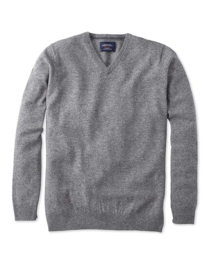 Silver grey Donegal v-neck sweater