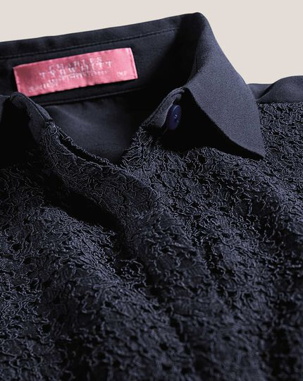 Women's semi fitted corded lace navy shirt