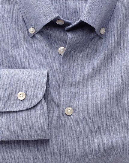 Extra slim fit button-down collar business casual blue shirt