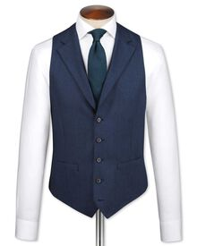 Blue saxony business suit vest