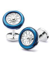 Blue wheel cufflink