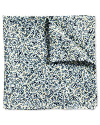 Blue classic printed paisley pocket square