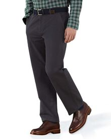 Charcoal classic fit flat front chinos
