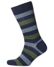 Navy and khaki stripe socks