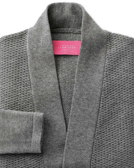 Grey textured long line cardigan