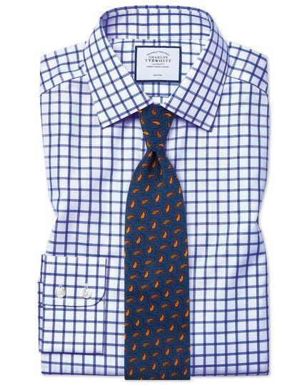 Slim fit non-iron twill grid check royal blue shirt