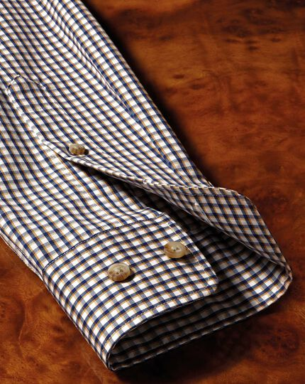 Slim fit button-down non-iron poplin gold and blue gingham shirt