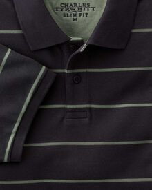 Slim fit navy and green multi striped pique polo