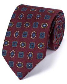 Luxuriöse englische Seidenkrawatte in burgunderrot mit Medaillon-Muster