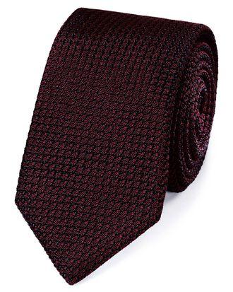 Burgundy silk plain grenadine Italian luxury tie
