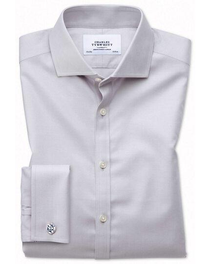 Bügelfreies Extra Slim Fit Twill-Hemd mit Haifischkragen in Grau