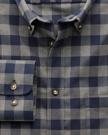 Classic fit non-iron twill navy and grey check shirt
