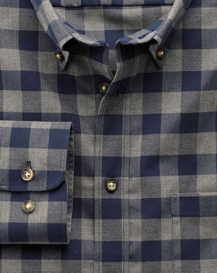 Extra slim fit non-iron twill navy and grey check shirt