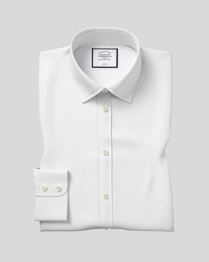 Classic fit non-iron poplin white shirt
