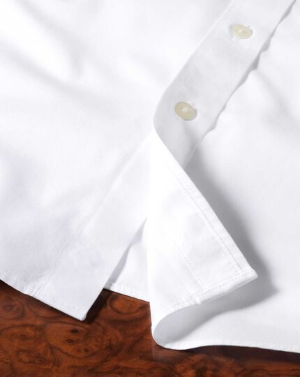 Extra slim fit non-iron poplin short sleeve white shirt