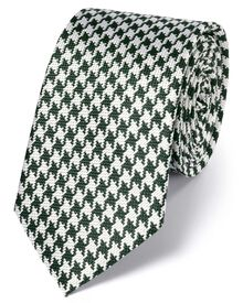 Green and white silk houndstooth classic tie