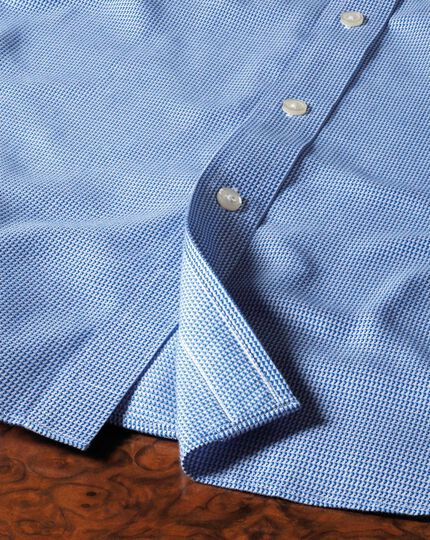 Extra slim fit spread collar non-iron triangle textured royal blue shirt