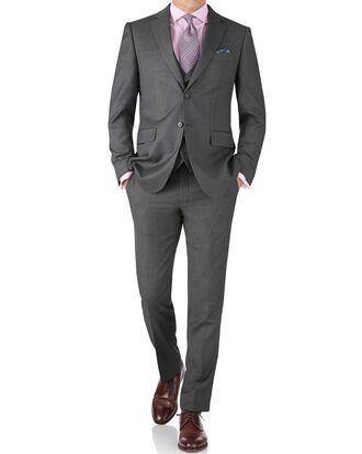 Mid grey slim fit twill business suit