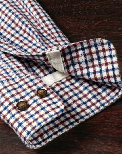 Extra slim fit burgundy and blue check brushed dobby shirt