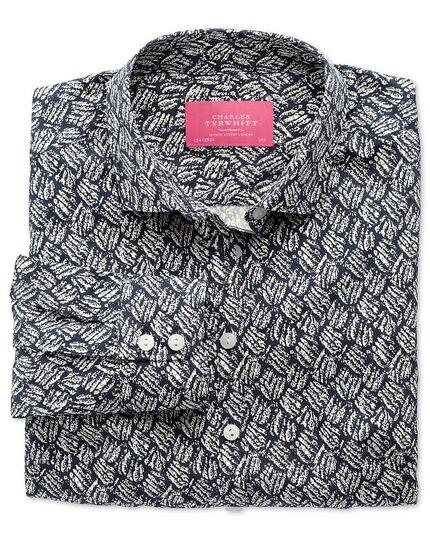 Women's semi-fitted dark blue brushstroke print shirt