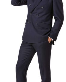 Navy slim fit double breasted twill business suit