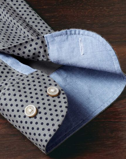 Extra slim fit navy and grey spot print shirt