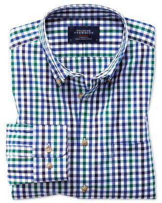 Bügelfreies Slim Fit Hemd aus Popeline in Blau und Grün mit Gingham-Karos
