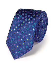 Navy luxury floral multi spot slim tie