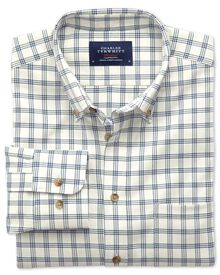 Classic fit non-iron windowpane check white and navy shirt