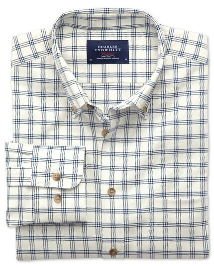 Slim fit non-iron windowpane check white and navy shirt